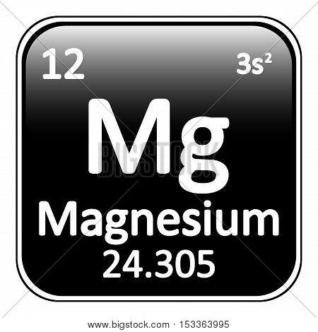 Periodic table element magnesium icon on white background. Vector illustration.