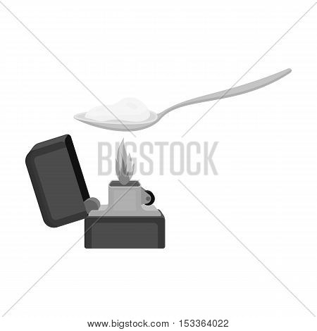 Heroin icon in monochrome style isolated on white background. Drugs symbol vector illustration.