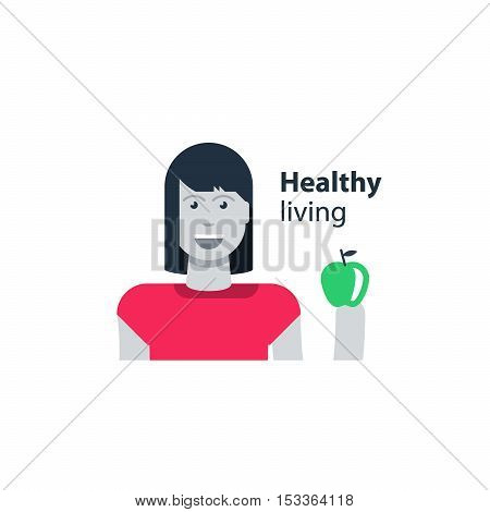 Woman health, healthy diet, young girl holding an apple in hand