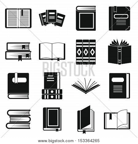 Books icons set. Simple illustration of 16 rockets vector icons for web