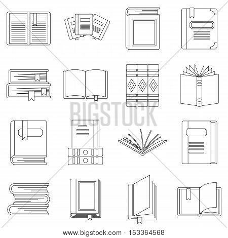 Books icons set. Outline illustration of 16 rockets vector icons for web