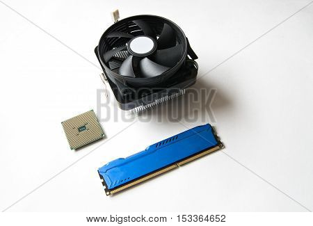 Computer Components On A White Background