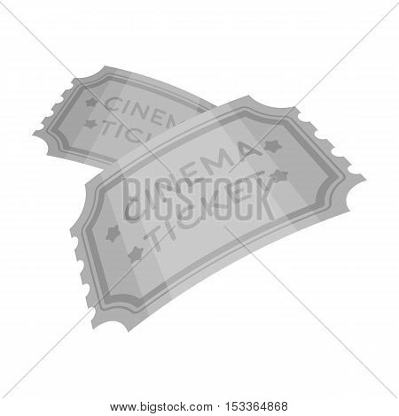 Ticket icon in monochrome style isolated on white background. Films and cinema symbol vector illustration.