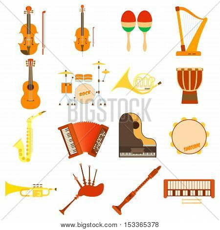 Musical instruments icons set. Flat illustration of 16 musical instruments vector icons for web