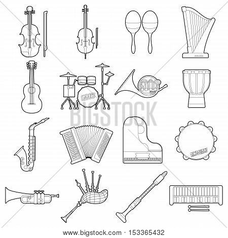 Musical instruments icons set. Outline illustration of 16 musical instruments vector icons for web