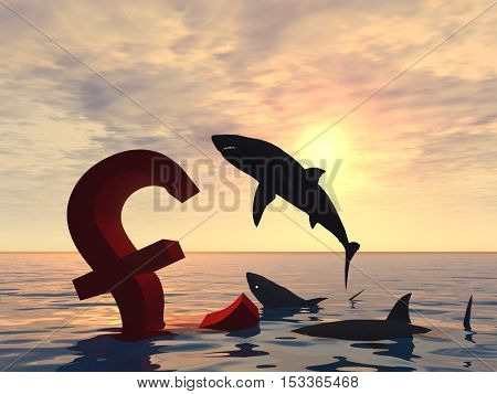 Conceptual 3D illustration bloody pound symbol or sign sinking in water or sea, black sharks eating, metaphor or concept for crisis in Europe