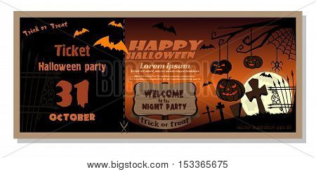 Invitation card template for Halloween night party. Vector illustration