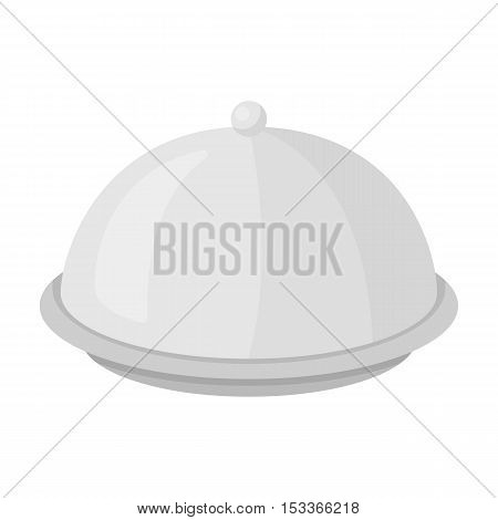 Cloche icon in monochrome style isolated on white background. Hotel symbol vector illustration.