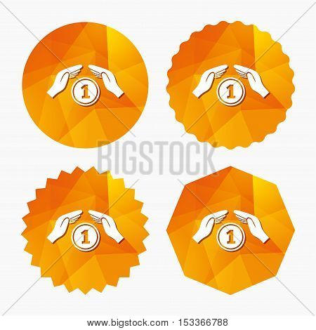 Protection money sign icon. Hands protect coin symbol. Money or savings insurance. Triangular low poly buttons with flat icon. Vector