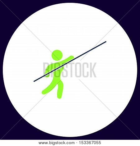 Pole vault Simple vector button. Illustration symbol. Color flat icon