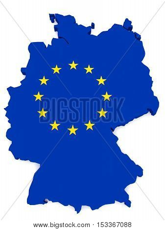 3d Illustration of Germany Map With EU Flag Isolated On White Background
