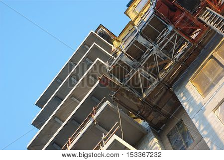 construction site building insulation and scaffolding concrete