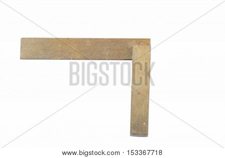 old wooden triangle for the construction on a white background
