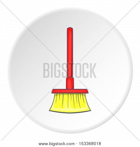 Red floor brush icon. Cartoon illustration of red floor brush vector icon for web