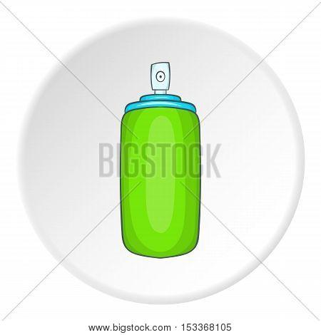 Green air freshener aerosol bottle icon. Cartoon illustration of air freshener aerosol bottle vector icon for web