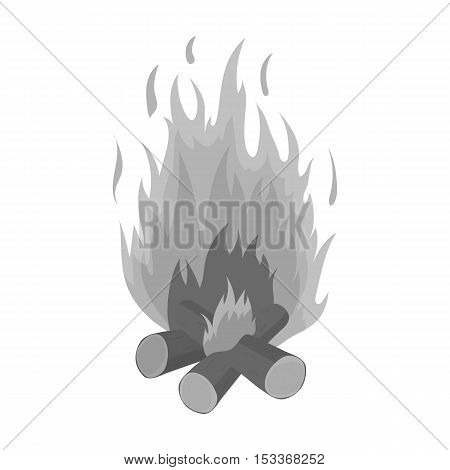 Campfire icon in monochrome style isolated on white background. Light source symbol vector illustration