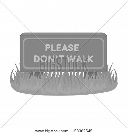 Please don't walk icon in monochrome style isolated on white background. Park symbol vector illustration.