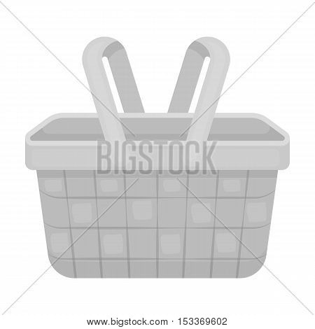 Picnic basket icon in monochrome style isolated on white background. Park symbol vector illustration.