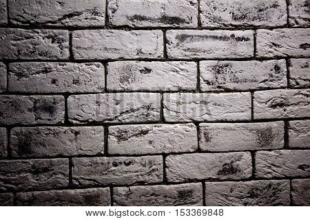 Vintage White brick old wall with sutures