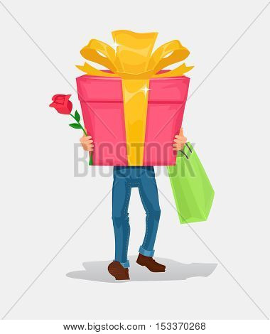 Vector illustration man carries a cardboard box gift