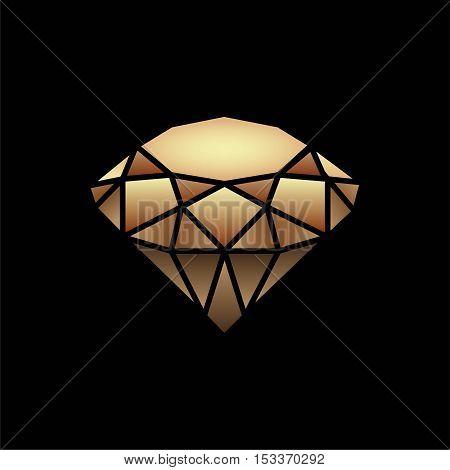 The vector image. Icon. The Golden diamond Gold decorative element