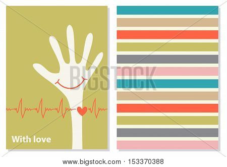 Funny greeting card, booklet. White hand with red smile and heart pulse. With Love phrase on the background. Vector. card wish in flat style