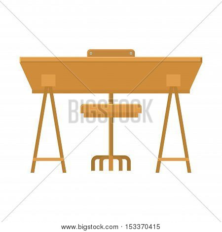 wooden desk with chair icon over white background. workplace design. vector illustration