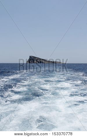 View of the Benidorm island from Mediterranean sea.