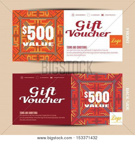 Vector blank of gift voucher on the white and dark red background with pattern.