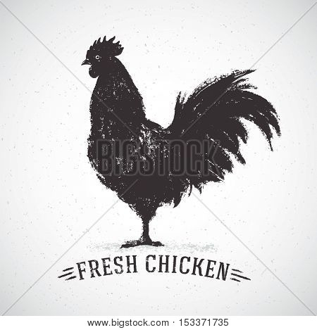 Graphic silhouette of a rooster and inscription,hand-drawn illustration.