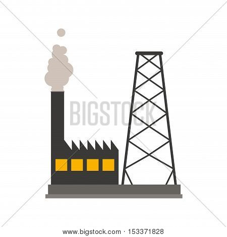 industrial factory building over white background. industry production design. vector illustration