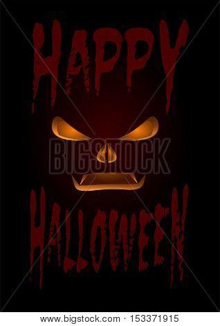 Halloween design. Black poster with the inscription - Happy Halloween