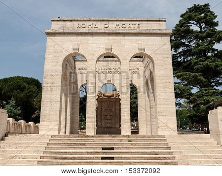 the Mausoleo Ossario Garibaldino on the Janiculum Hill in Rome dedicated to the fallen for Rome between 1849 (II Roman Republic) and 1870