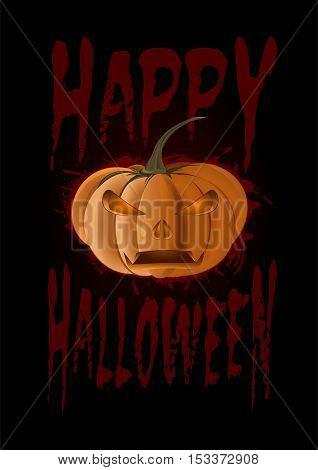 Halloween design. Poster with pumpkin and inscription - Happy Halloween