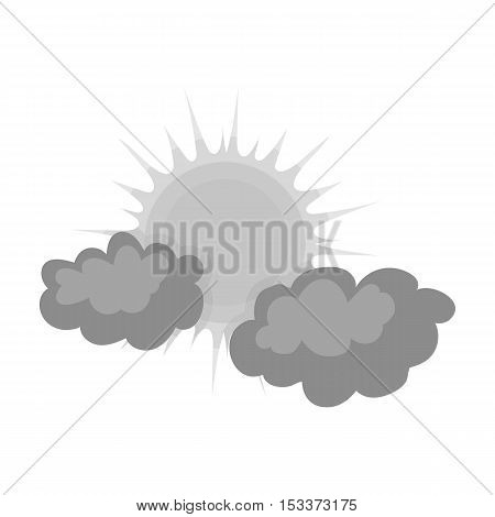 Cloudy weather icon in monochrome style isolated on white background. Weather symbol vector illustration.