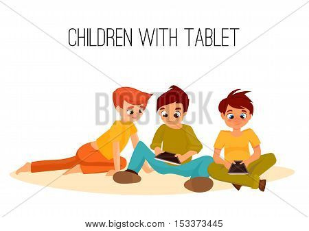3 Children boys played in tablet. children sit and chat on Internet. gadget addiction. video games. cartoon character