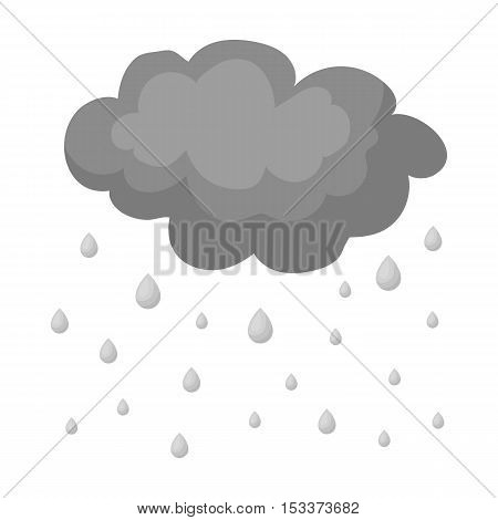 Rain icon in monochrome style isolated on white background. Weather symbol vector illustration.