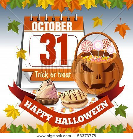 Halloween calendar and a basket in the form of a pumpkin with candies. Trick or treat. Autumn background