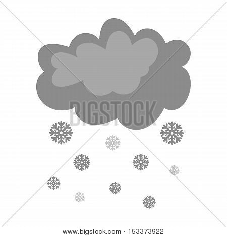 Snowfall icon in monochrome style isolated on white background. Weather symbol vector illustration.