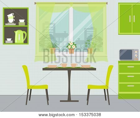 Modern kitchen in green color. There is a table, two chairs, shelves, a window with flowers and other objects in the picture. Vector illustration