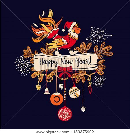 Illustration For Happy New Year 2017 With Silhouette Cock. Desig