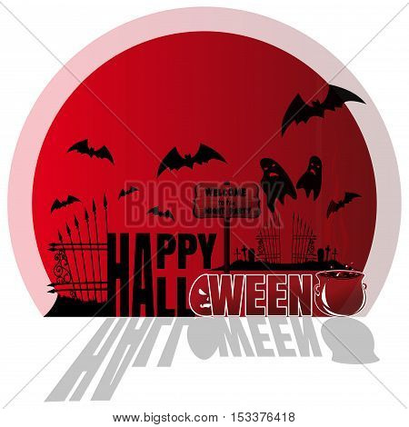 Happy Halloween. Concept art. Red sticker, illustration for Halloween
