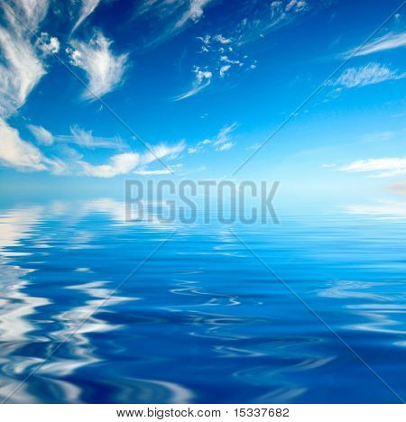 Blue sky over water