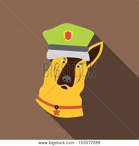 Police dog icon. Flat illustration of police dog vector icon for web isolated on coffee background