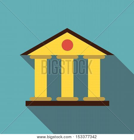 Justice court building icon. Flat illustration of justice court building vector icon for web isolated on baby blue background
