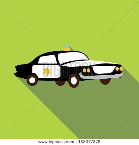 Police car icon. Flat illustration of police car vector icon for web isolated on green background