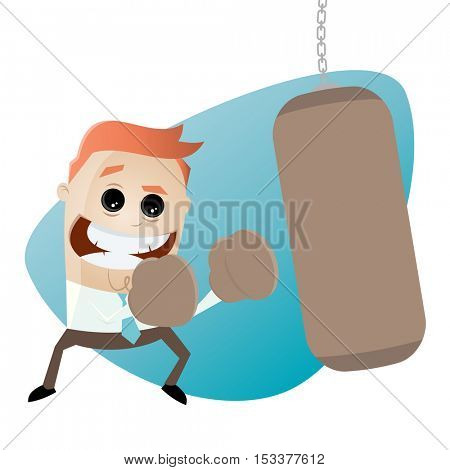 businessman with punching bag clipart