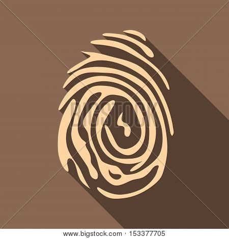 Fingerprint icon. Flat illustration of fingerprint vector icon for web isolated on coffee background