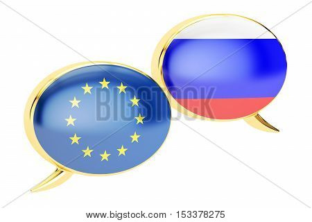 Speech bubbles EU-Russia conversation concept. 3D rendering isolated on white background