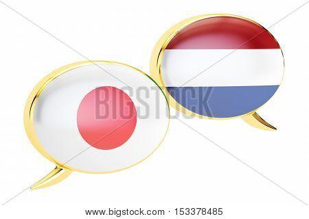 Speech bubbles Japanese-Dutch translation concept. 3D rendering